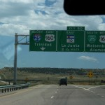 "An interstate sign reading ""Trinidad"" with an arrow"
