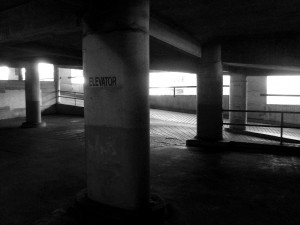 "Columns inside of a parking garage, one marked ""ELEVATOR"" with no elevator in sight."
